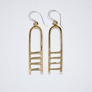 Ladder Large Earrings, brass