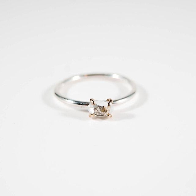 Tiny Crystal Stacking Ring, White Topaz