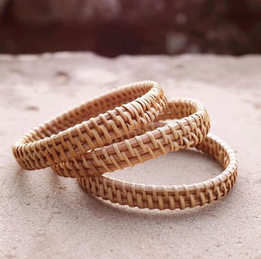Thien Natural Rattan 3pc Bangle Set