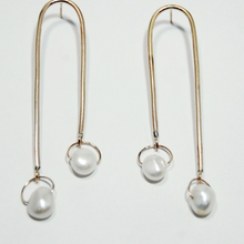 Load image into Gallery viewer, Long Gold Pearl Mobile Earrings