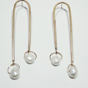 Long Gold Pearl Mobile Earrings