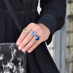 Denim Lapis Stone Ring, size 7.5