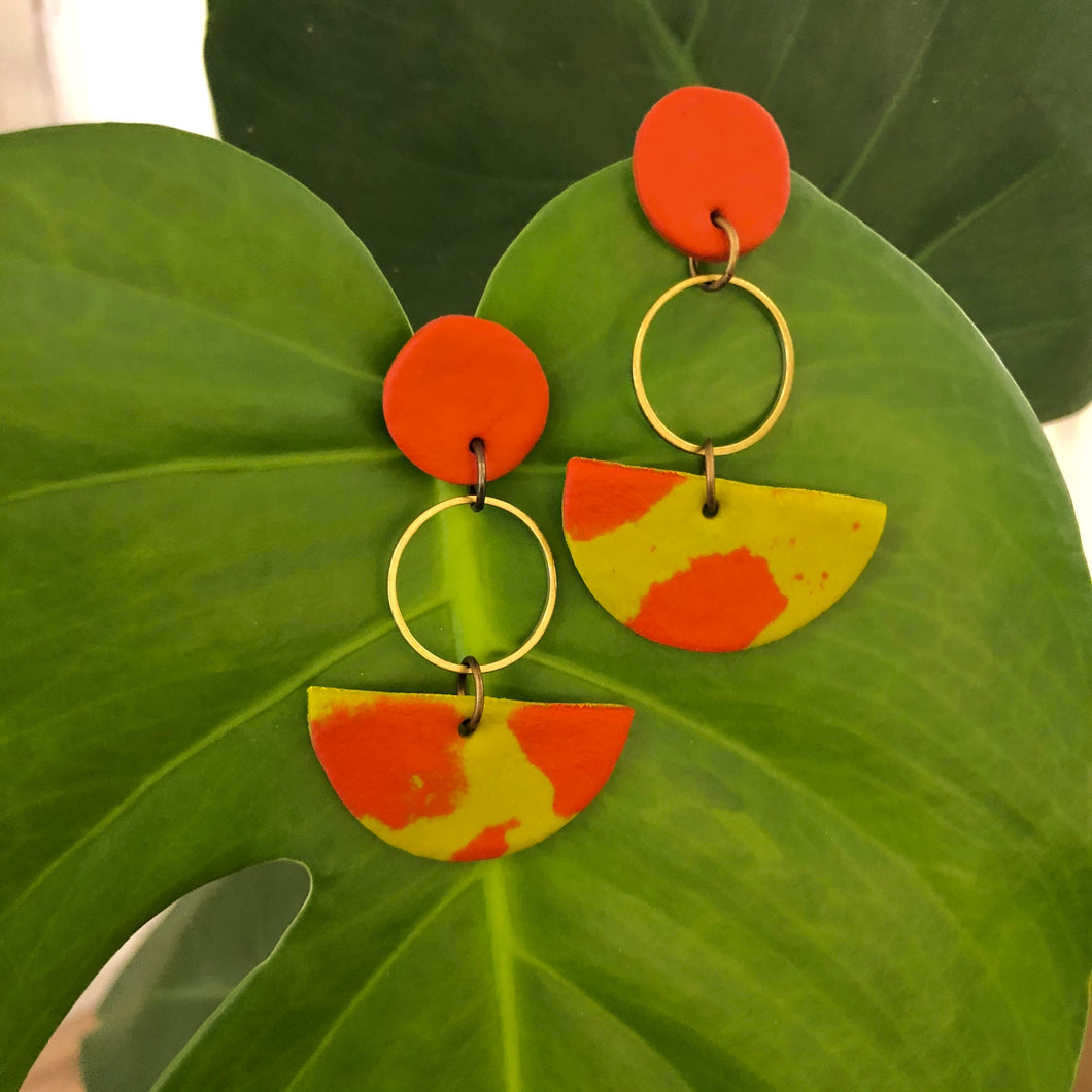Tangerine, Lime & Brass Polymer Clay Earrings