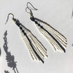 Bead Dangle Earrings, white/black