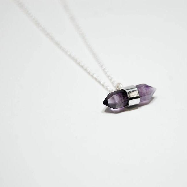 Amethyst Point Necklace, Silver
