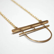 Load image into Gallery viewer, Gate Pendant Necklace, Brass