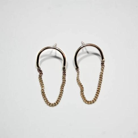 Half Chain Oval Small Earrings, Gold
