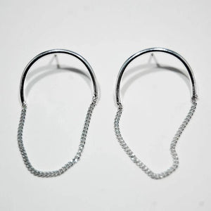 Half Chain Oval Large Earrings, Silver