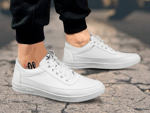 Stylish Men's Casual White Solid Sneakers Shoes