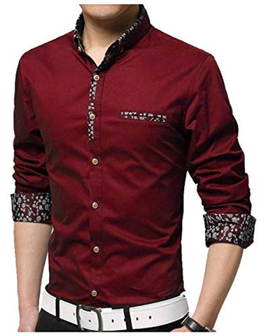 Men's Red Cotton Long Sleeves Regular Fit Casual Shirts