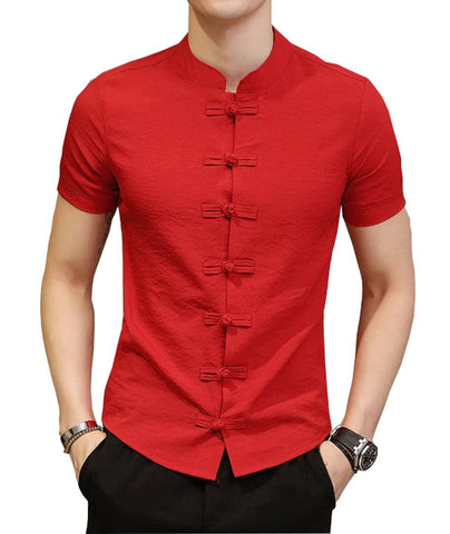 Men's Red Cotton Solid Short Sleeves Slim Fit Casual Shirt