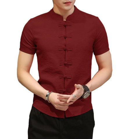 Men's Maroon Cotton Solid Short Sleeves Slim Fit Casual Shirt
