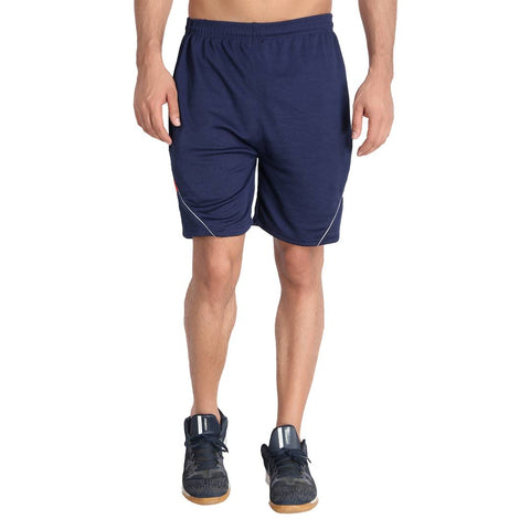 Reliable Navy Blue Self Pattern Cotton Blend Men's Sports Shorts