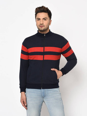 Men's Navy Blue Long Sleeves High Neck Striped Sweatshirt