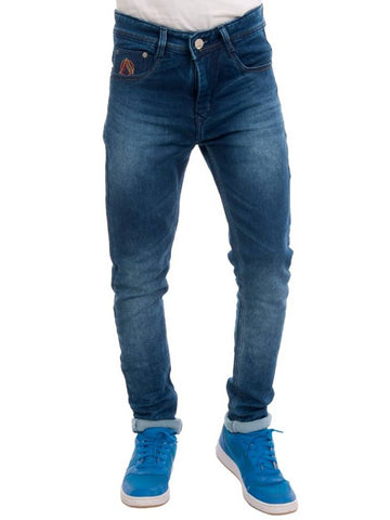 Modern Blue Cotton Blend Regular Fit Jeans For Men