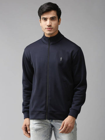 Stylish Full Sleeve Navy Blue Bonded Fleece Blend Zipper Jacket For Men