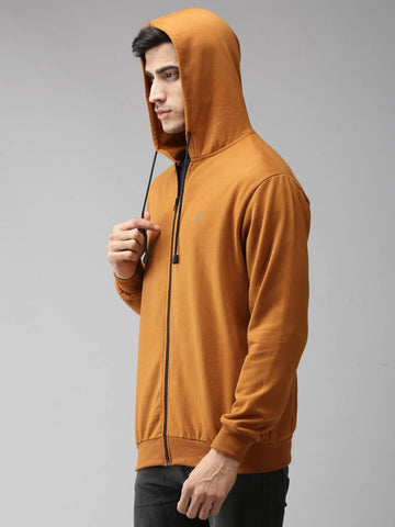 Stylish Polycotton Fleece Mustard Solid Hoodies Sweatshirt For Men