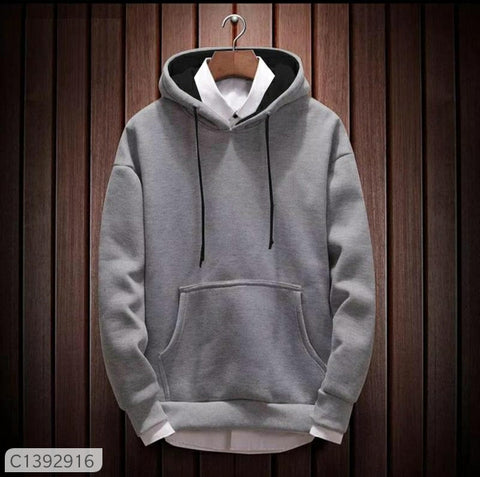 Classy Printed Cotton Blend Solid Cotton Slim Fit Hoodie