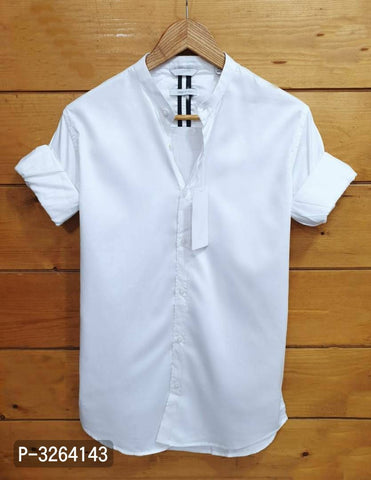White Men's Cotton Slim Fit Shirt