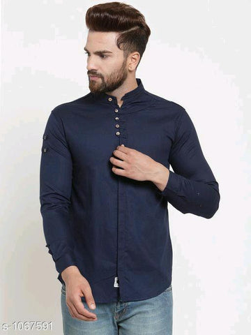 MEN'S SOLID COTTON CASUAL DARK BLUE FULL SLEEVE SHIRT
