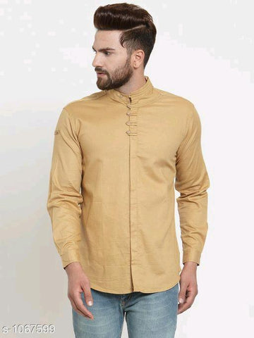MEN'S SOLID COTTON CASUAL GOLDEN YELLOW FULL SLEEVE SHIRT