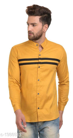 MENS STYLISH YELLOW COTTON MENS SHIRT