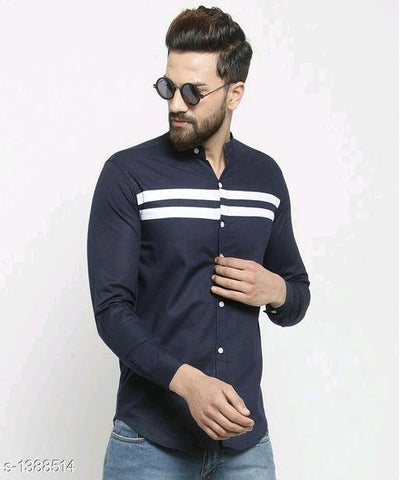 MENS STYLISH DARK BLUE COTTON MENS SHIRT