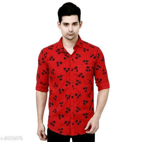 RED VOGUISH MEN'S COTTON PRINTED SHIRT