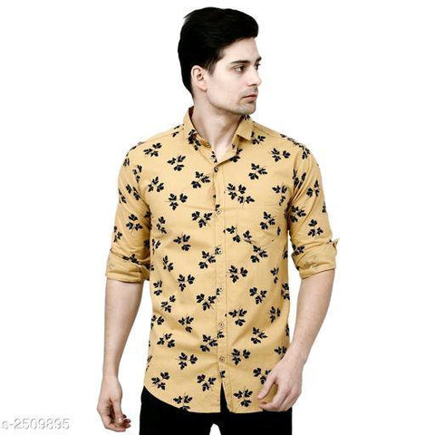 YELLOW VOGUISH MEN'S COTTON PRINTED SHIRT