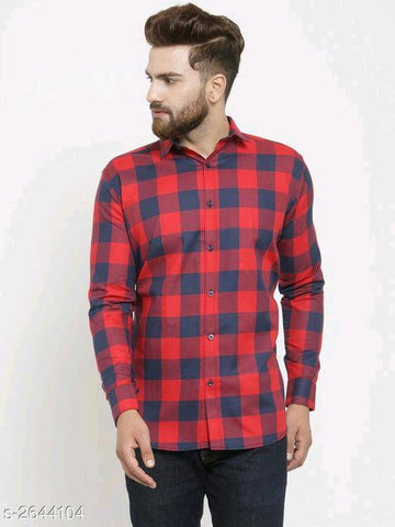 RED STYLISH COTTON MEN'S SHIRT