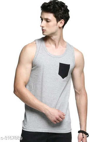 GREY COTTON PRINTED MEN'S VEST