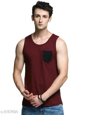 MAROON COTTON PRINTED MEN'S VEST