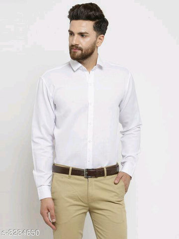 MEN'S COTTON BLEND SHIRT - WHITE