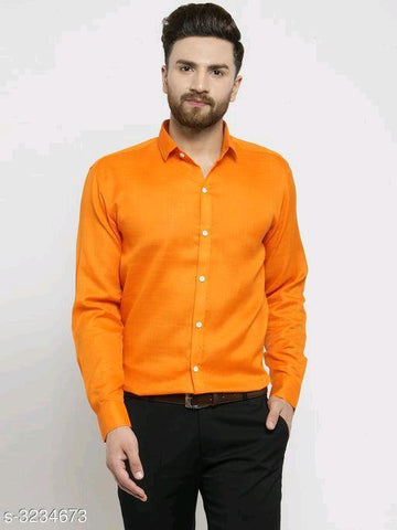 MEN'S COTTON BLEND SHIRT - ORANGE