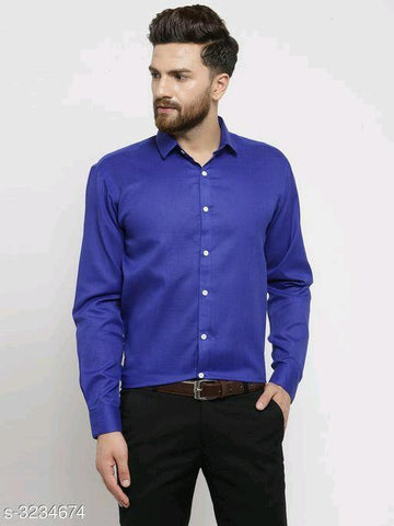 MEN'S COTTON BLEND SHIRT - BLUE