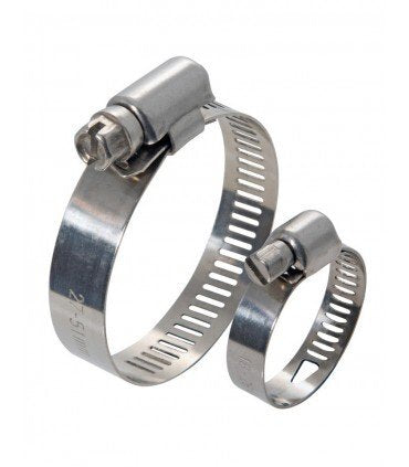 "Worm Gear Clamp Perforated - Screw Galvanised - Band 304S - 1.02""- 2.00"""