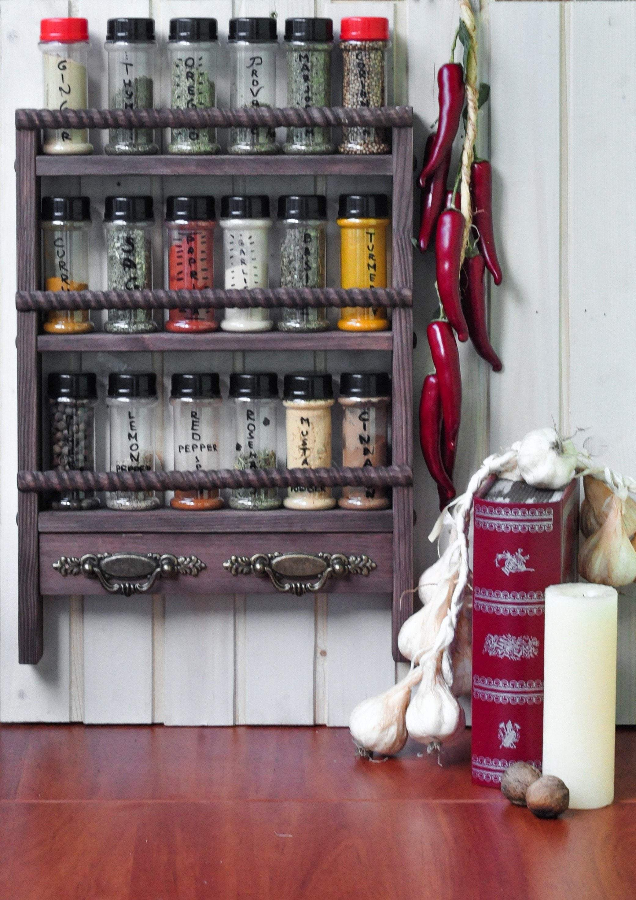 3-Shelf Spice Rack with Simple Rustic Bars - LocalBeavers