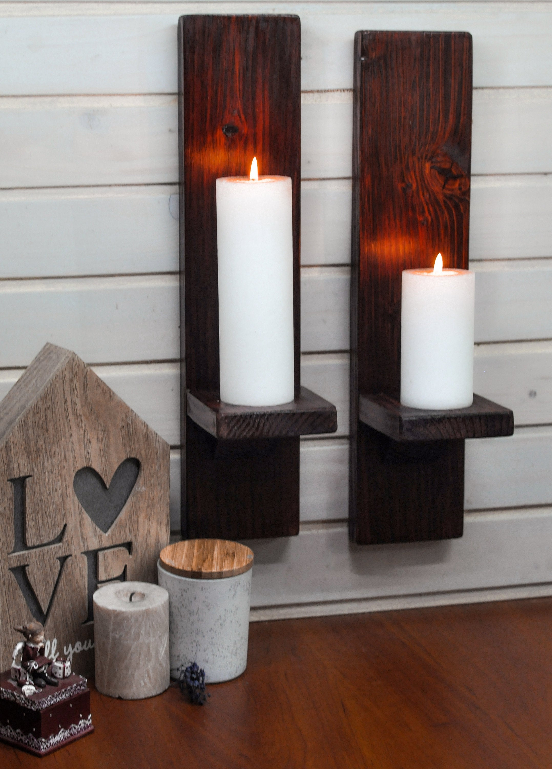Large Ebony Wall-Mounted Candle Sconces - LocalBeavers