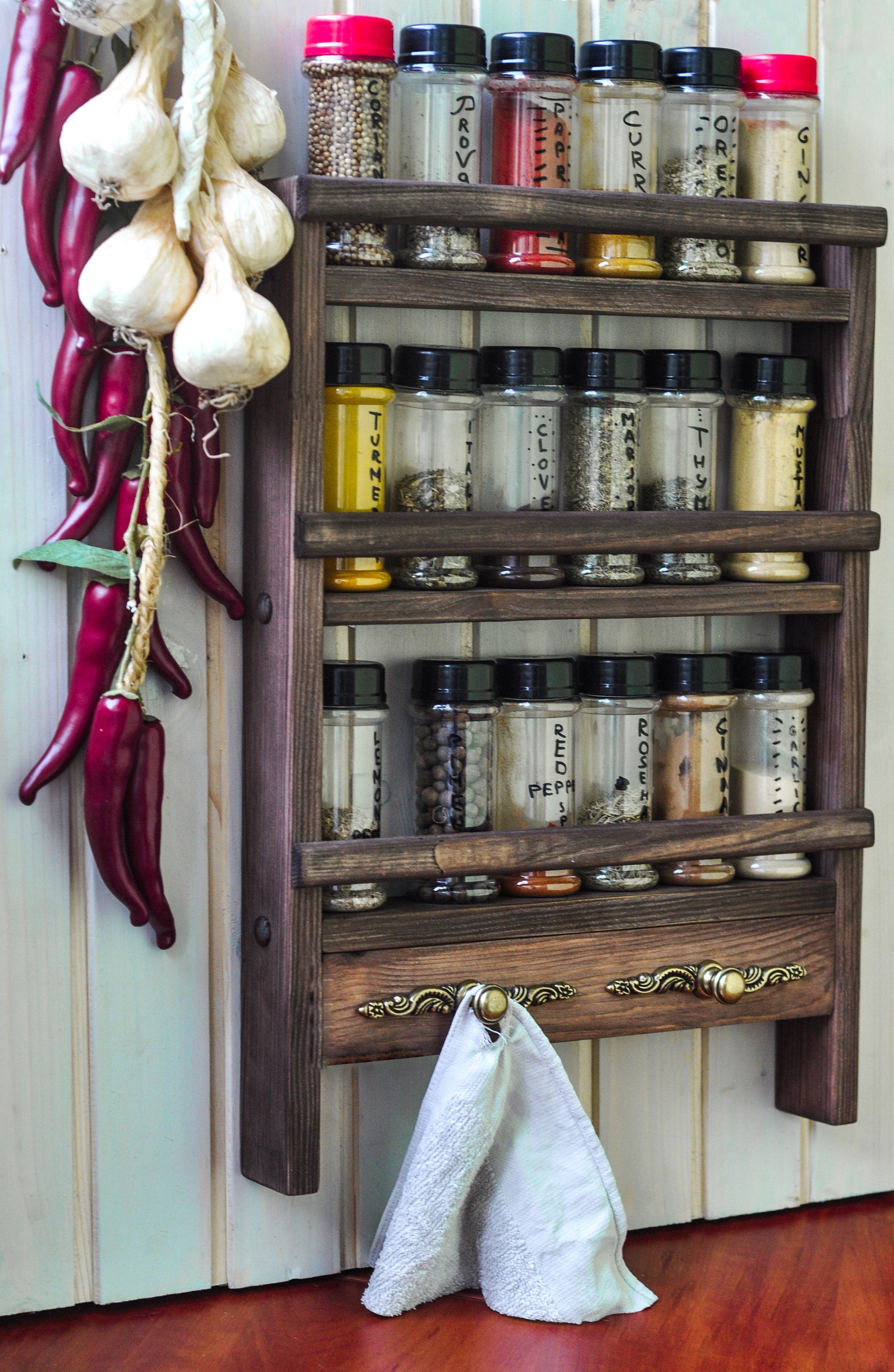 3-Shelf Spice Rack with Ornate Bars - LocalBeavers