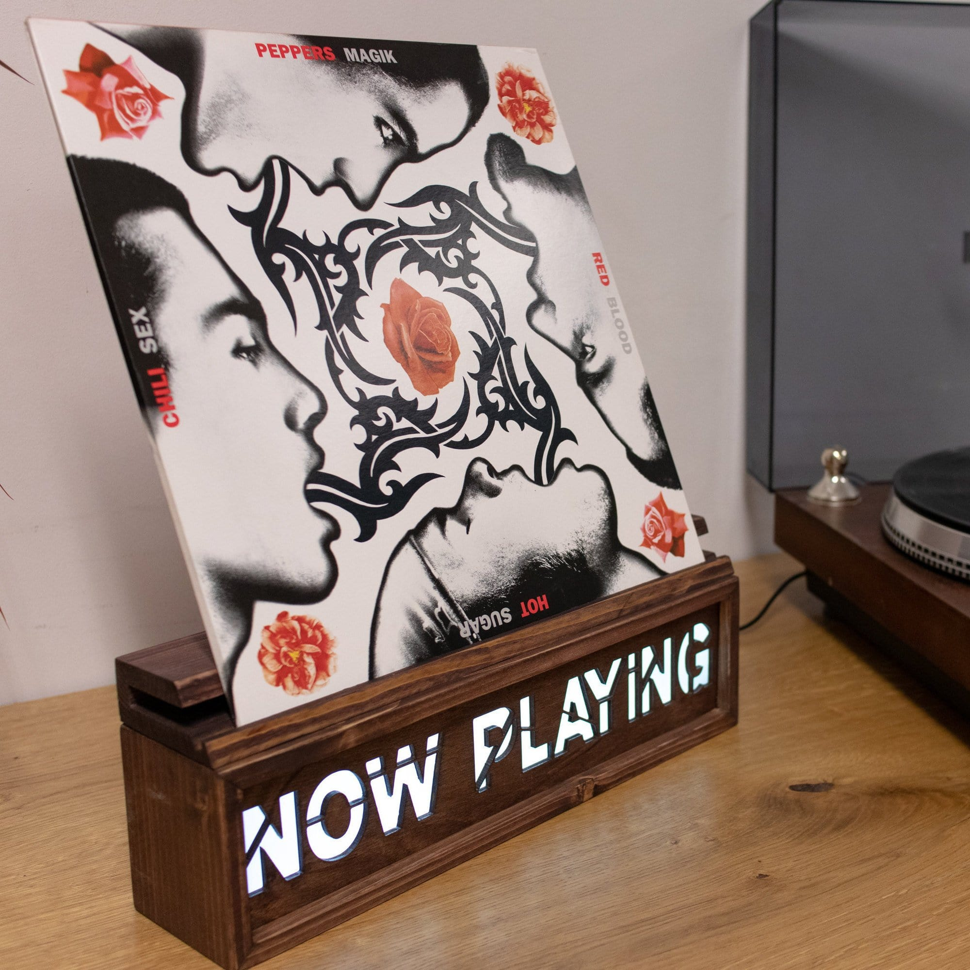 Rustic 'Now Playing' Record Stand - LocalBeavers