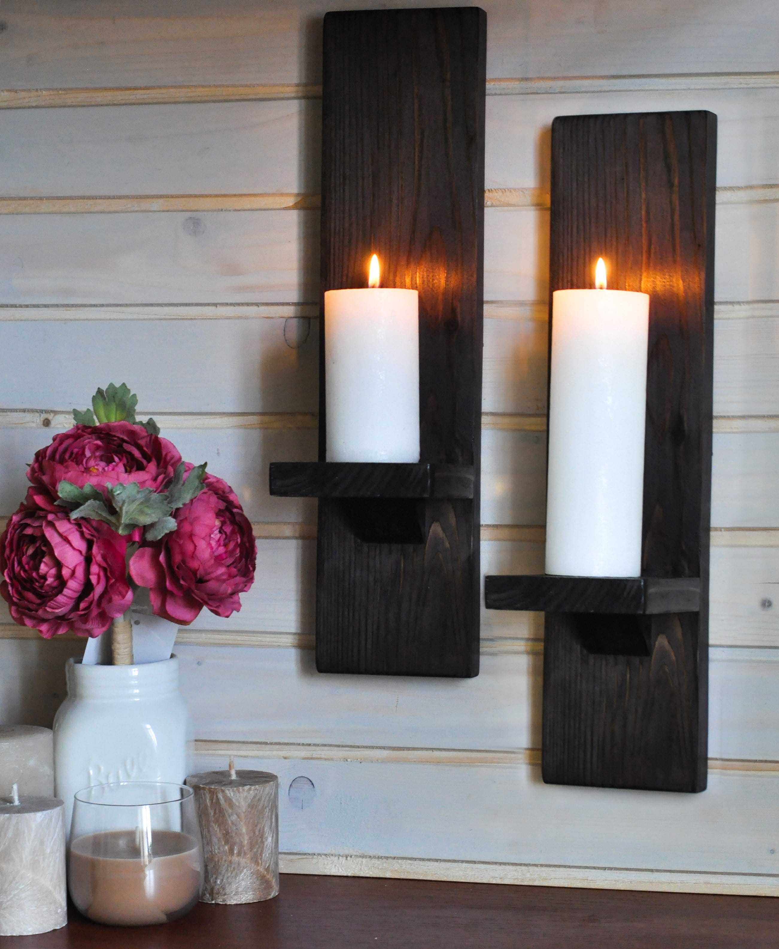 Large Chestnut Wall-Mounted Candle Sconces - LocalBeavers