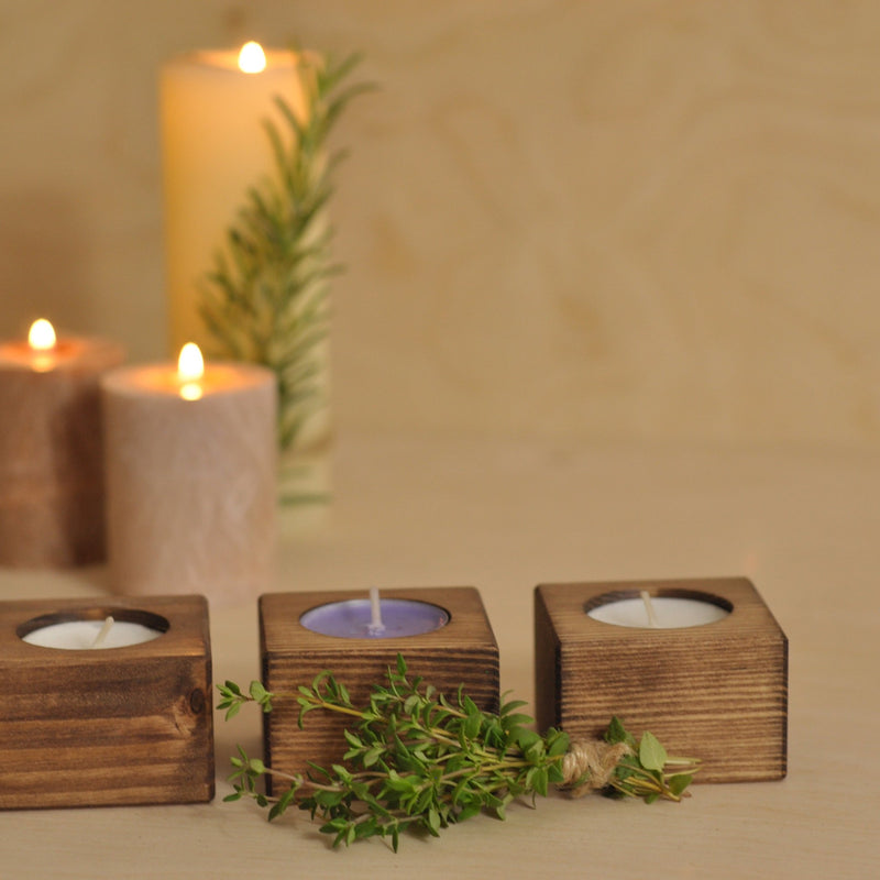 Rustic Wood Tealight Candle Holders