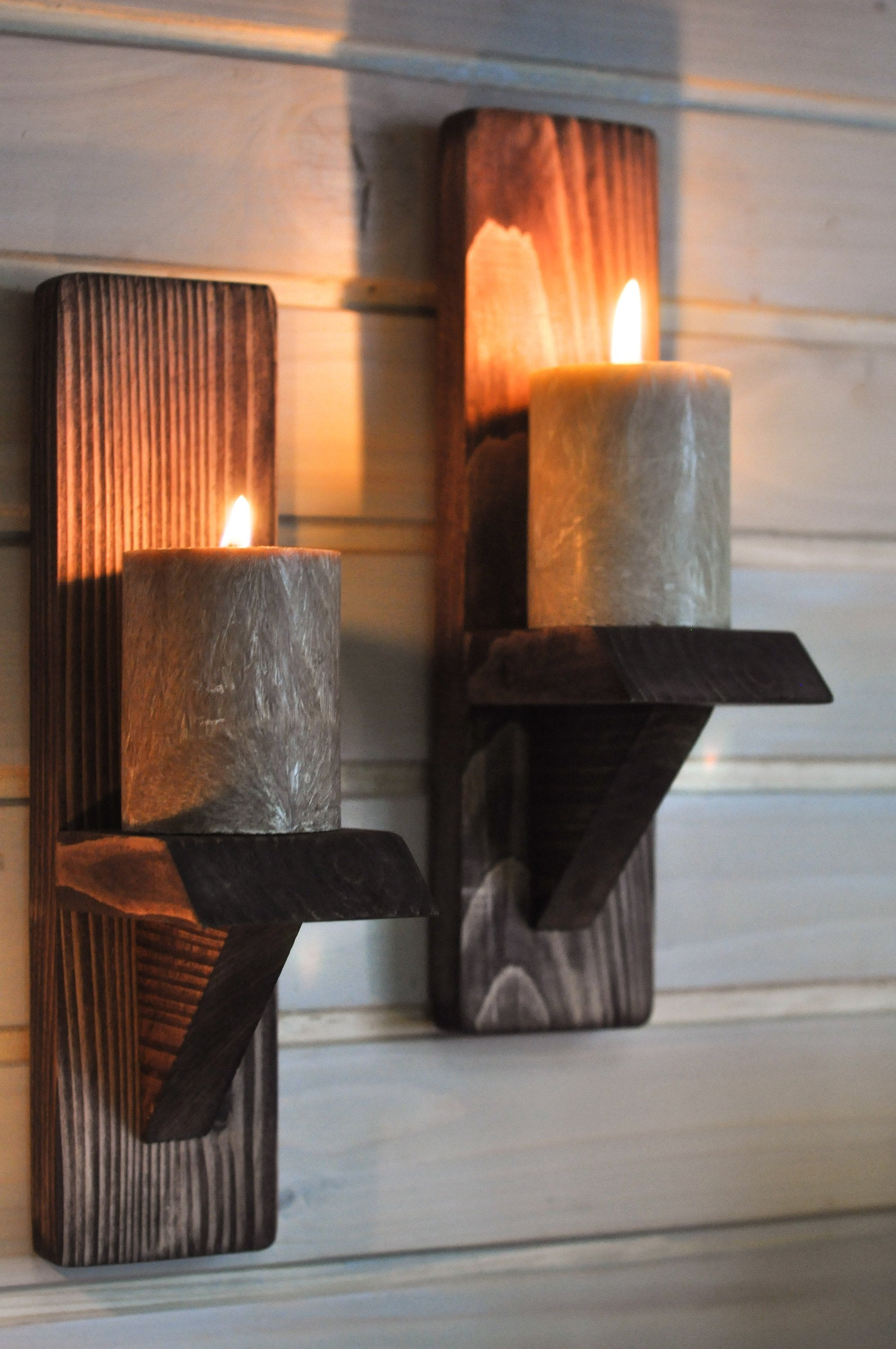 Small Oiled Wall-Mounted Candle Sconces - LocalBeavers