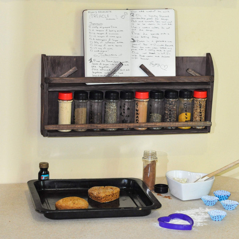 Wall Mount Spice Rack & Recipe Book Holder