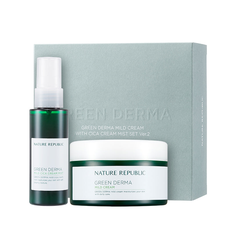Green Derma Mild Cream With Cica Cream Mist Set Ver.2