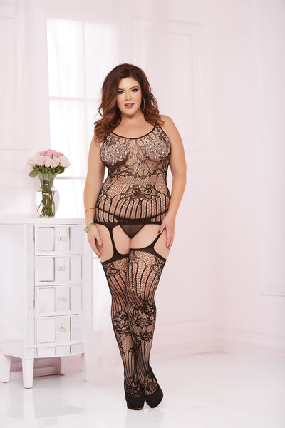 Seamless Floral Lace Cami Bodystocking