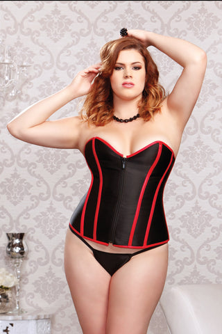 Faux Leather Trim Corset & G-string