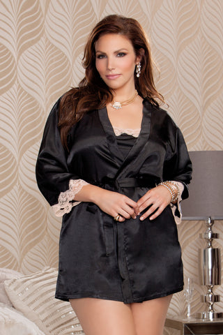 3/4 Sleeve Satin Robe With lace Cuffs