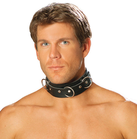 Men's Leather Collar With 3 O Rings