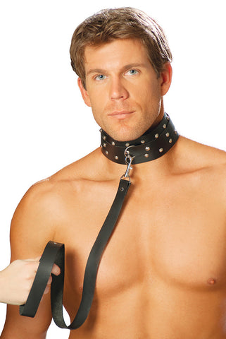 Men's Leather Collar With Studs & O-Ring